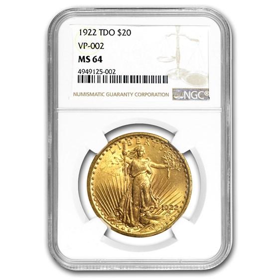1922 $20 Saint-Gaudens Gold Double Eagle MS-64 NGC (TDO VP-002)