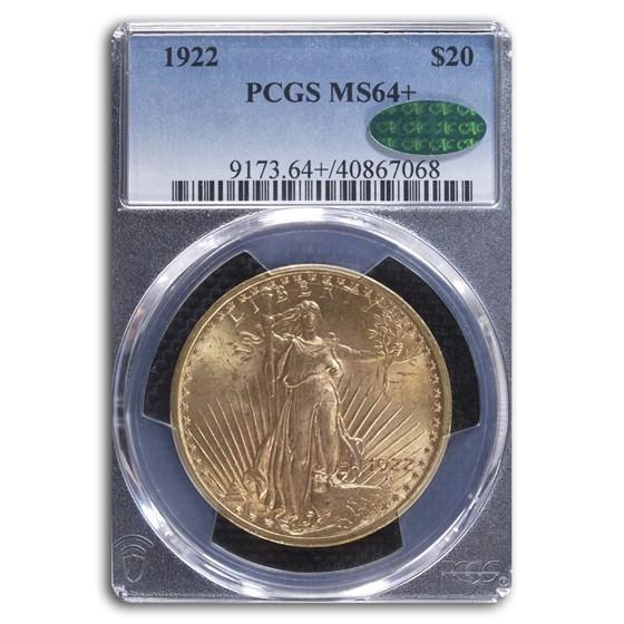 1922 $20 Saint-Gaudens Gold Double Eagle MS-64+ PCGS CAC