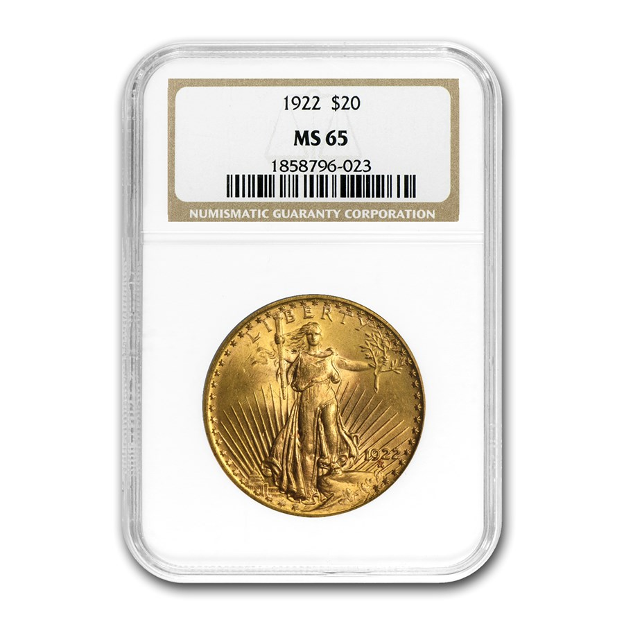1922 $20 Saint-Gaudens Gold Double Eagle MS-65 NGC