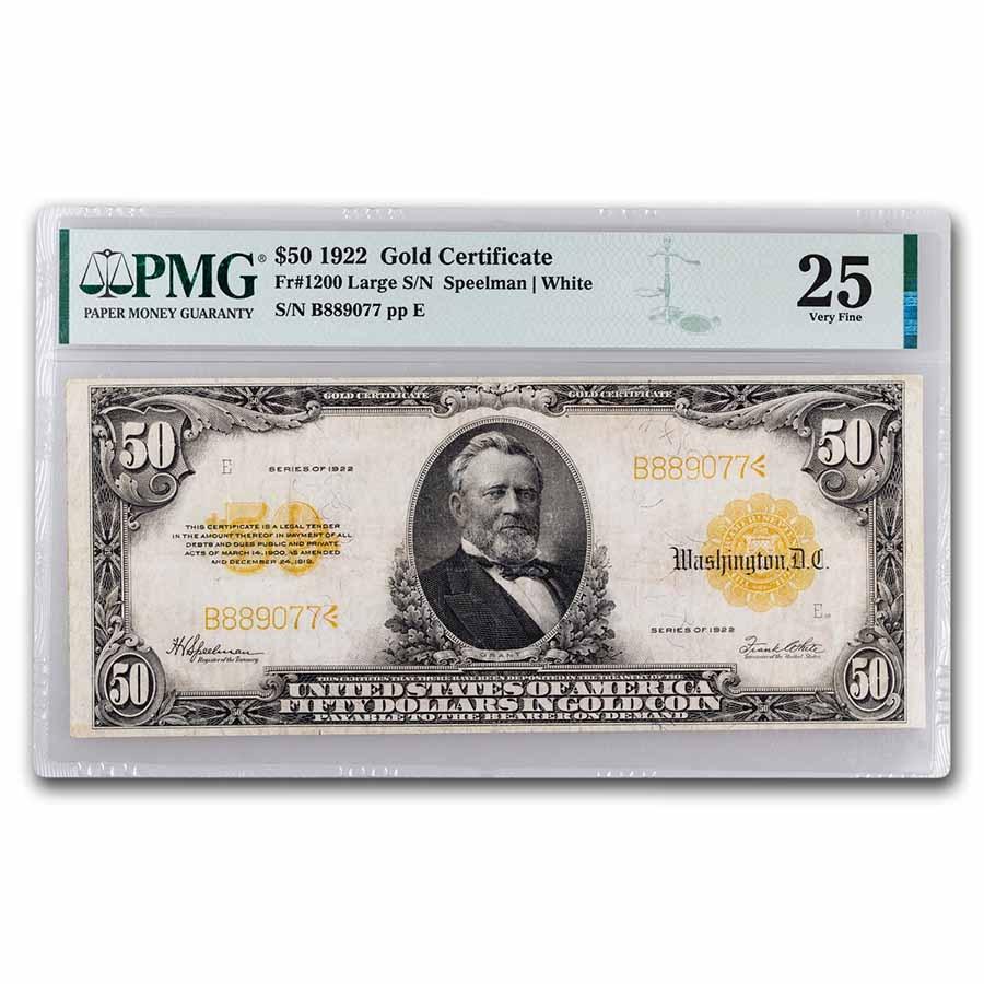 1922 $50 Gold Certificate VF-25 PMG (Fr#1200)