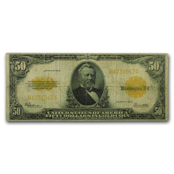 1922 $50 Gold Certificate VG/Fine