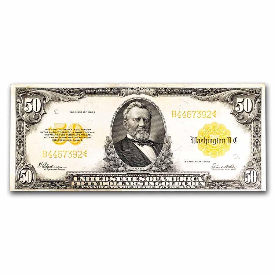 1922 $50 Gold Certificate XF (Fr#1200)