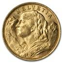 1922-B Swiss Gold 20 Francs Helvetia BU