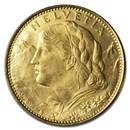 1922 B Switzerland Gold 10 Francs BU