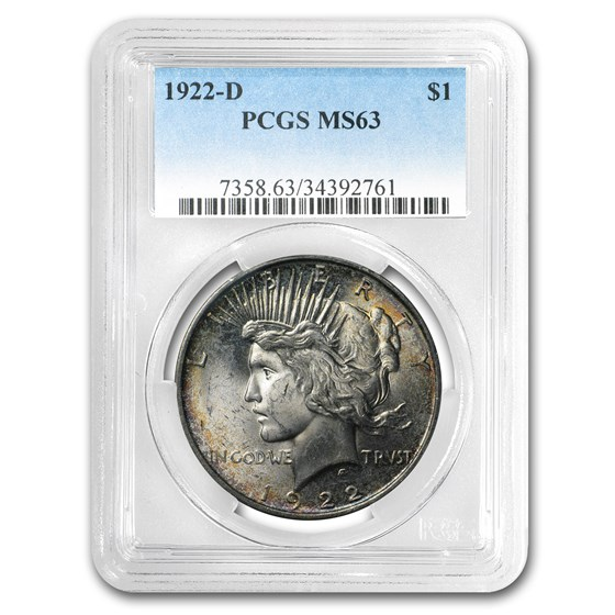 1922-D Peace Dollar MS-63 PCGS (Toned, Obv & Rev)