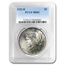 1922-D Peace Dollar MS-63 PCGS