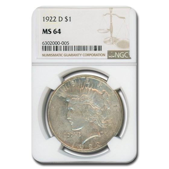 1922-D Peace Dollar MS-64 NGC