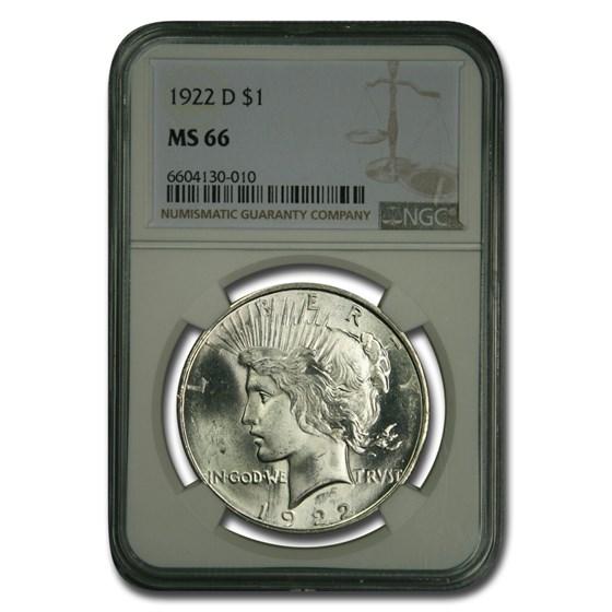 1922-D Peace Dollar MS-66 NGC