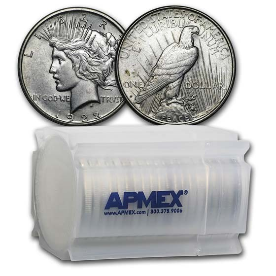 1922-D Peace Silver Dollars AU (20-Coin Roll)