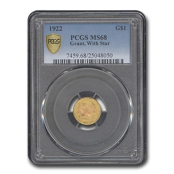 1922 Gold $1.00 Grant Commem w/Star MS-68 PCGS