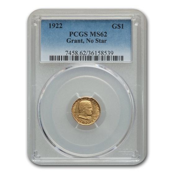 1922 Gold $1.00 Grant MS-62 PCGS (No Star)