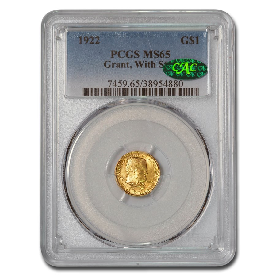 1922 Gold $1.00 Grant MS-65 PCGS CAC (Star)