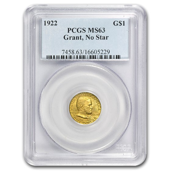 1922 Gold $1.00 Grant No Star MS-63 PCGS