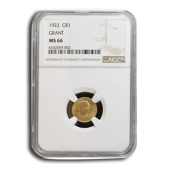 1922 Gold $1.00 Grant No Star MS-66 NGC