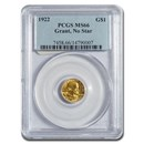 1922 Gold $1.00 Grant No Star MS-66 PCGS
