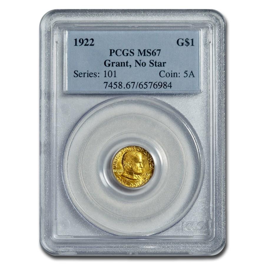 1922 Gold $1.00 Grant No Star MS-67 PCGS