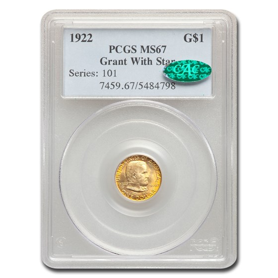 1922 Gold $1.00 Grant w/Star MS-67 PCGS CAC