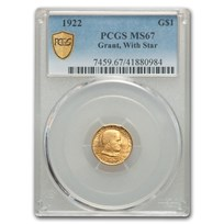 1922 Gold $1.00 Grant w/Star MS-67 PCGS