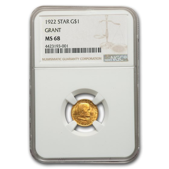 1922 Gold $1.00 Grant w/ Star MS-68 NGC (Star)