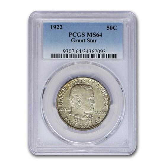 1922 Grant Memorial Half Dollar w/Star MS-64 PCGS