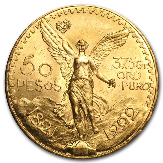 1922 Mexico Gold 50 Pesos BU