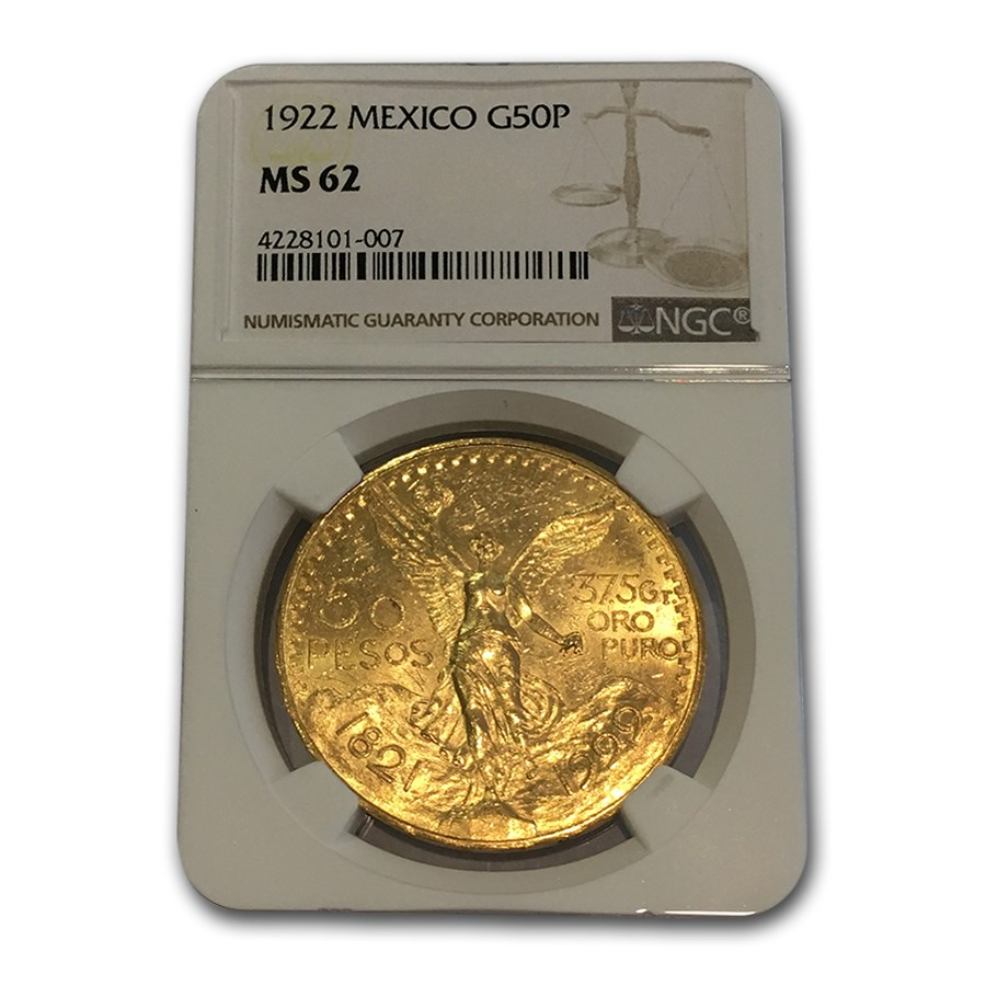 1922 Mexico Gold 50 Pesos MS-62 NGC