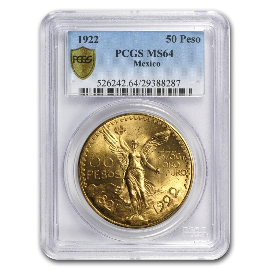 1922 Mexico Gold 50 Pesos MS-64 PCGS