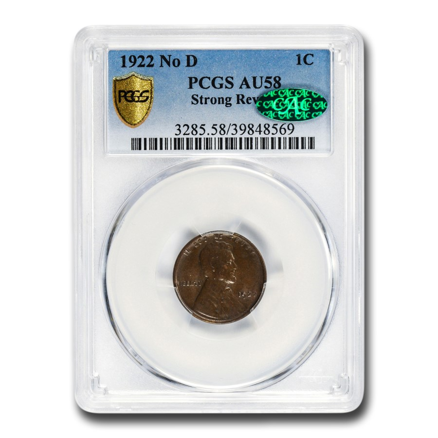 1922 No D Lincoln Cent AU-58 PCGS CAC (Strong Reverse)
