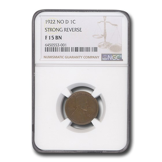 1922 No D Lincoln Cent Fine-15 NGC (Brown, Strong Reverse)