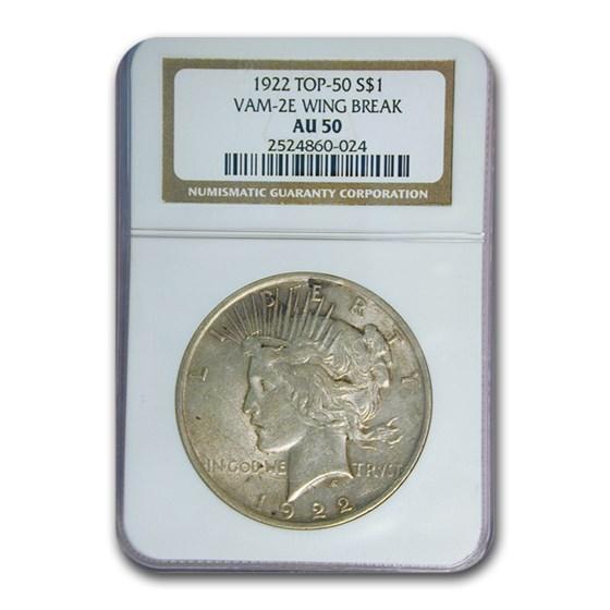 1922 Peace Dollar AU-50 NGC (VAM-2E Wing Break, Top-50)