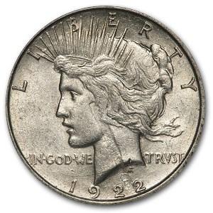 1922 Peace Dollar AU-55 (Major Obv Strike Thru Mint Error)