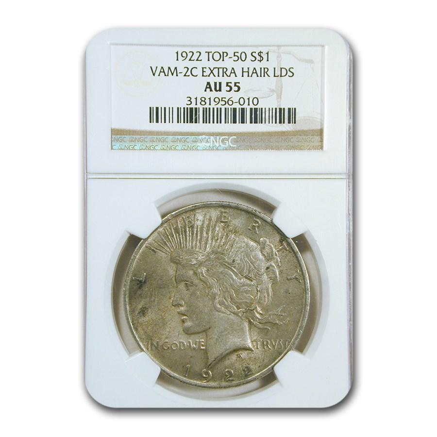 1922 Peace Dollar AU-55 NGC (VAM-2C Extra Hair LDS, Top-50)