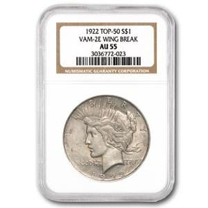 1922 Peace Dollar AU-55 NGC (VAM 2E)