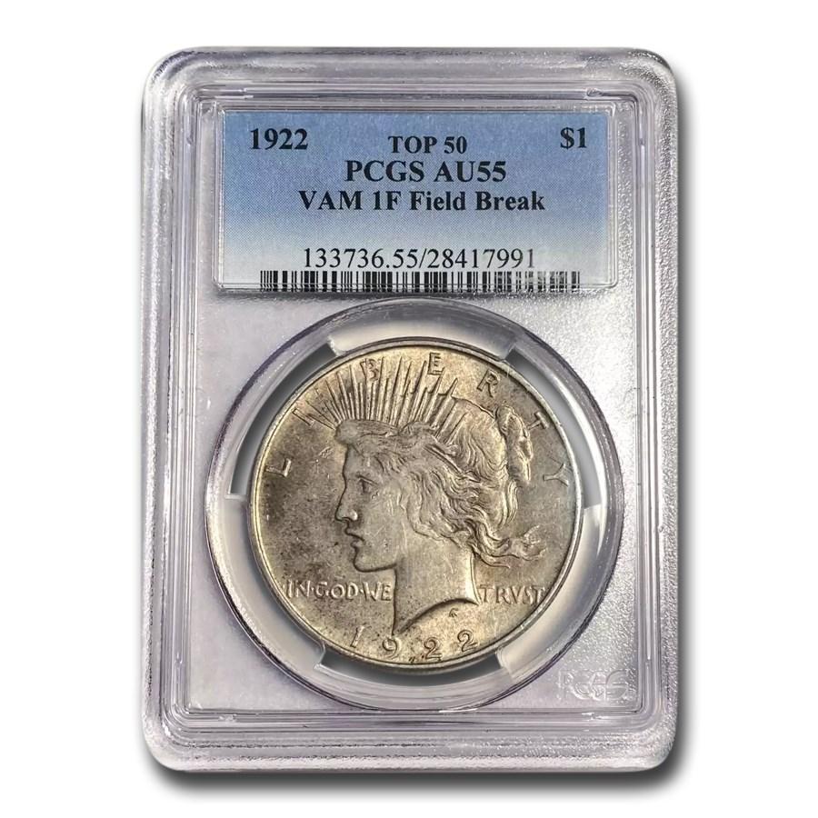 1922 Peace Dollar AU-55 PCGS (VAM 1F Field Break Top 50)