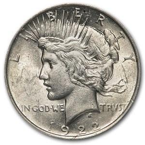1922 Peace Dollar AU-58 (Lamination Mint Error)