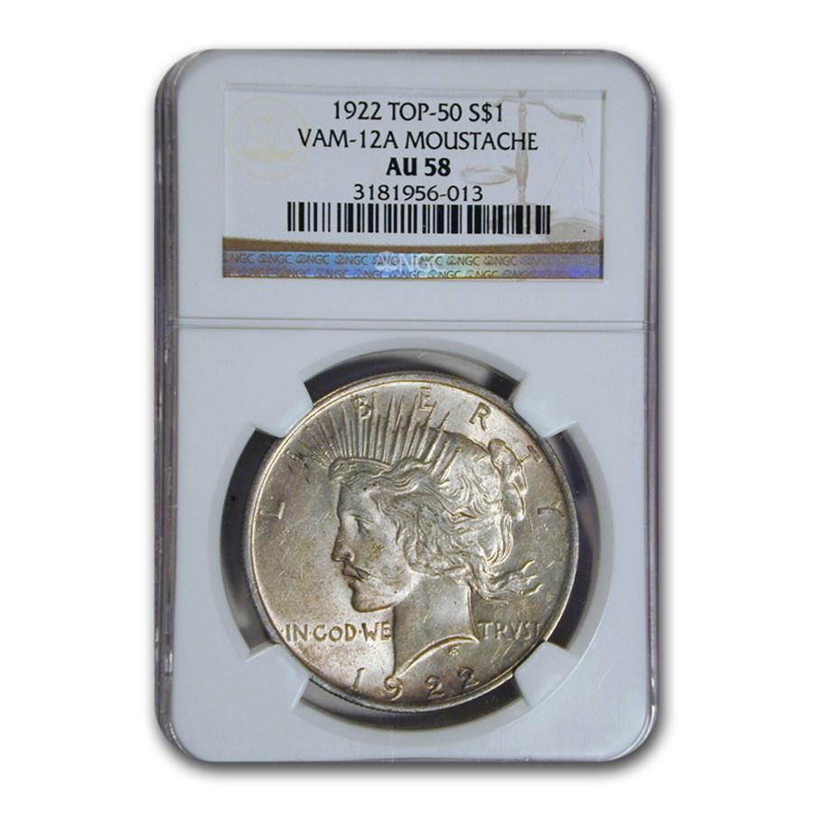 1922 Peace Dollar AU-58 NGC (VAM-12A Moustache, Top-50)