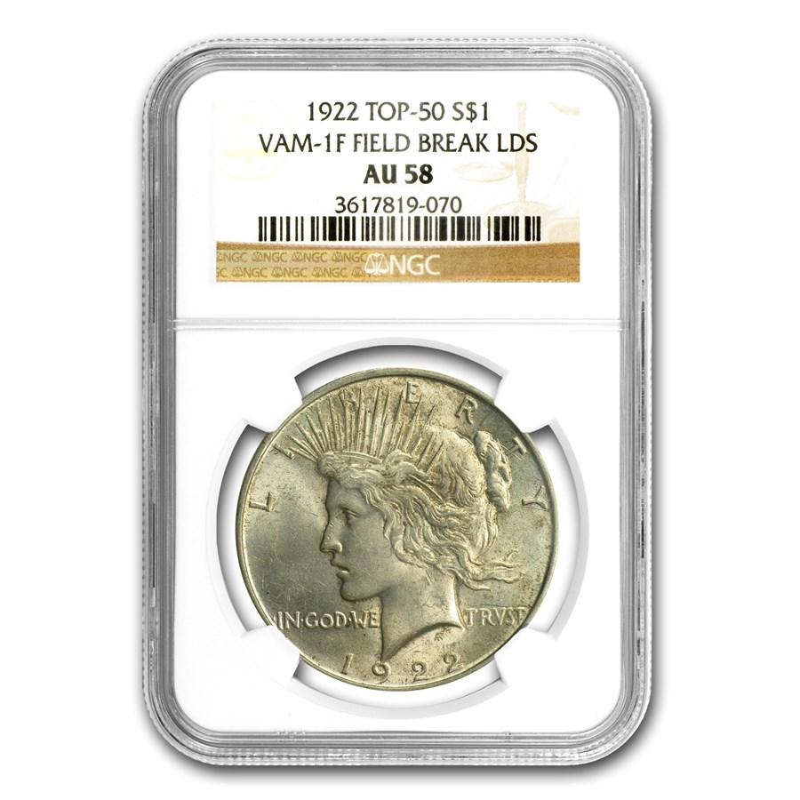 1922 Peace Dollar AU-58 NGC (VAM-1F LDS Field Die Break, Top-50)