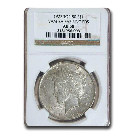 1922 Peace Dollar AU-58 NGC (VAM-2A Ear Ring EDS, Top-50)