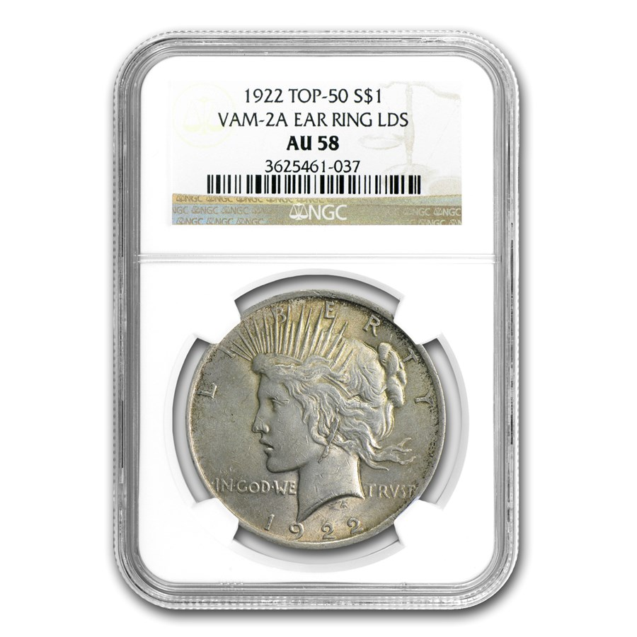 1922 Peace Dollar AU-58 NGC (VAM-2A Ear Ring LDS, Top-50)