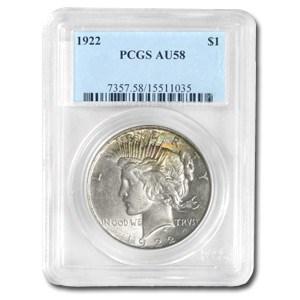 1922 Peace Dollar AU-58 PCGS (Rainbow Toning Obv)