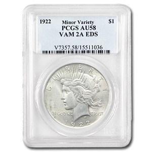 1922 Peace Dollar AU-58 PCGS (VAM-2A, Ear Ring EDS, Top-50)