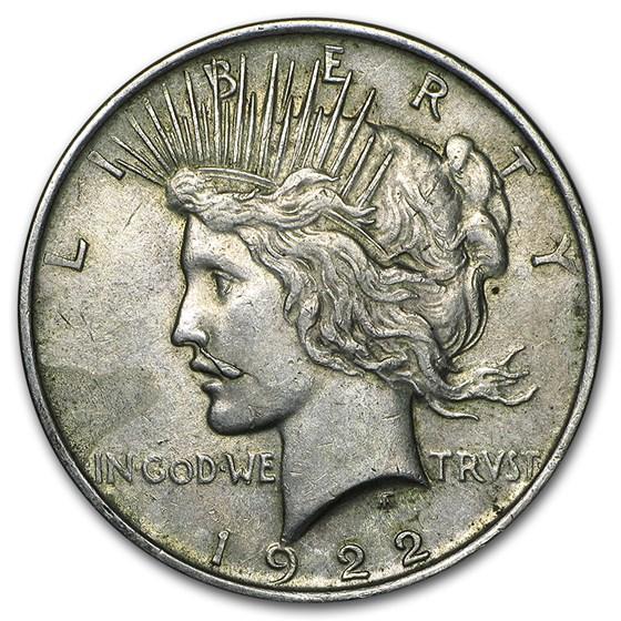 1922 Peace Dollar AU (Cleaned, VAM-12A Moustache, Top-50)