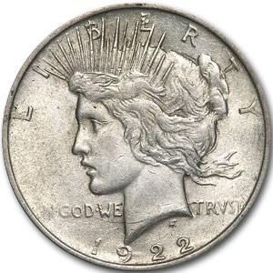 1922 Peace Dollar AU (VAM-2E Wing Die Break)