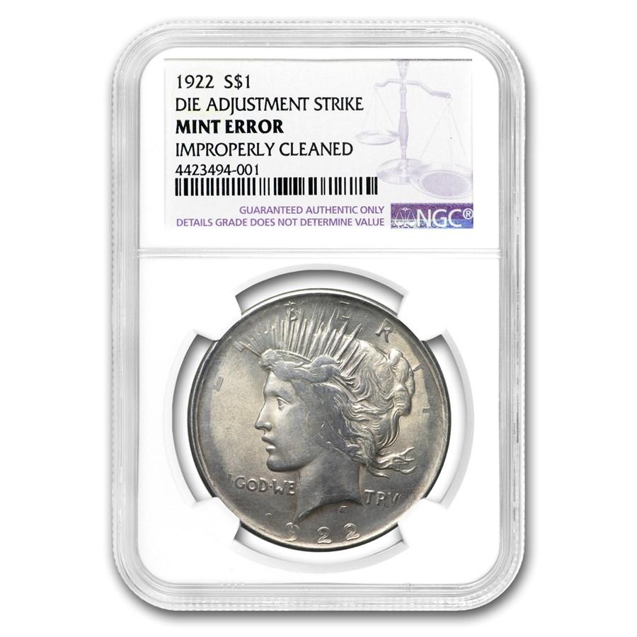 1922 Peace Dollar Die Adjustment Strike NGC Mint Error