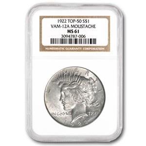 1922 Peace Dollar MS-61 NGC (VAM-12A Moustache, Top-50)