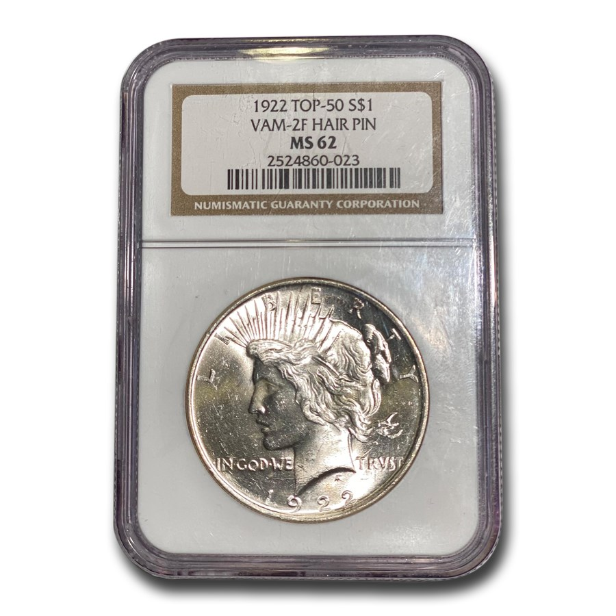 1922 Peace Dollar MS-62 NGC (VAM-2F Hair Pin, Top-50)