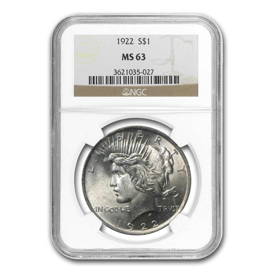 1922 Peace Dollar MS-63 NGC