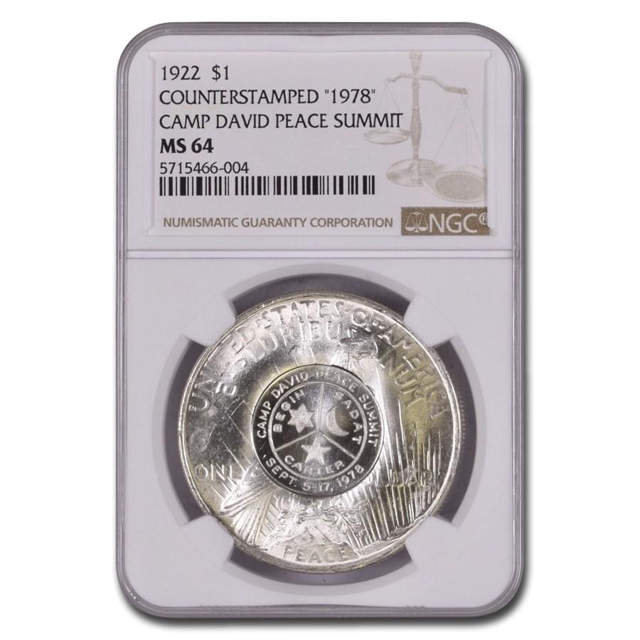 1922 Peace Dollar MS-64 NGC (Counterstamped 1978 Camp David)