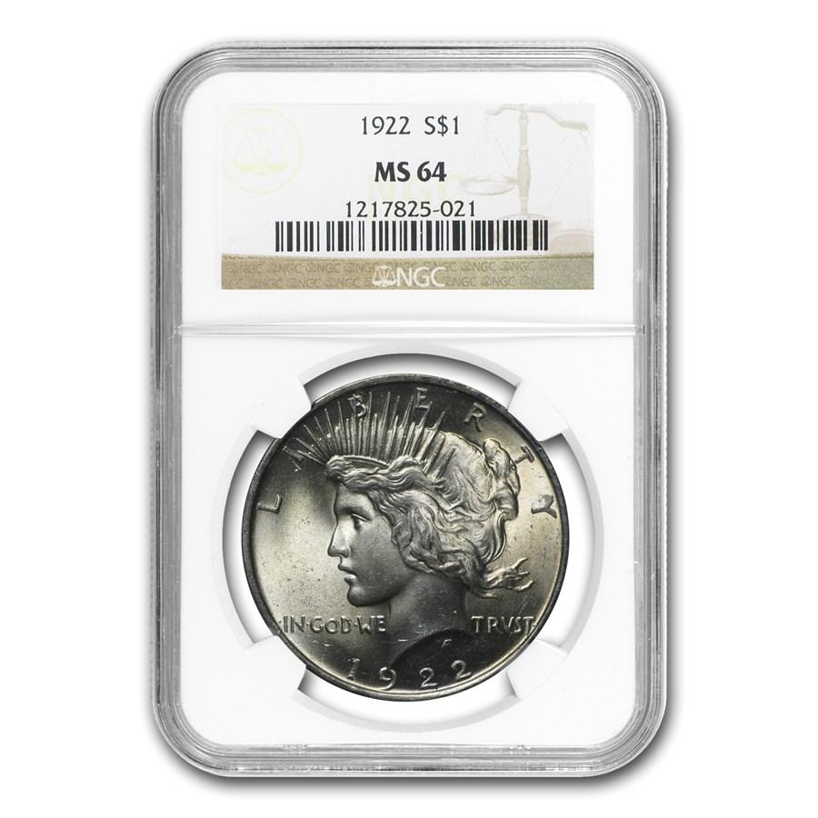 1922 Peace Dollar MS-64 NGC