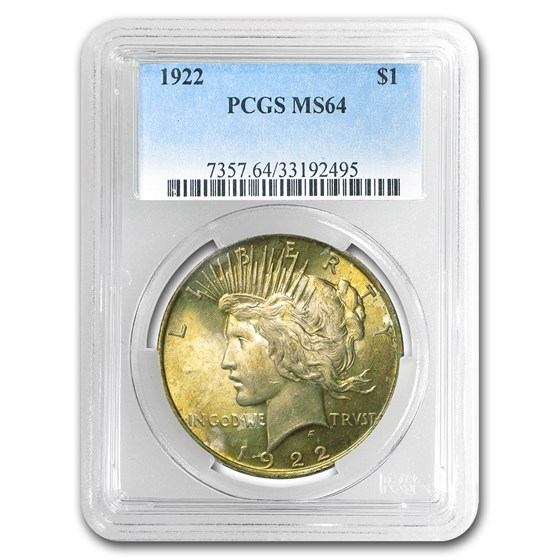 1922 Peace Dollar MS-64 PCGS (Toned Obv & Rev)